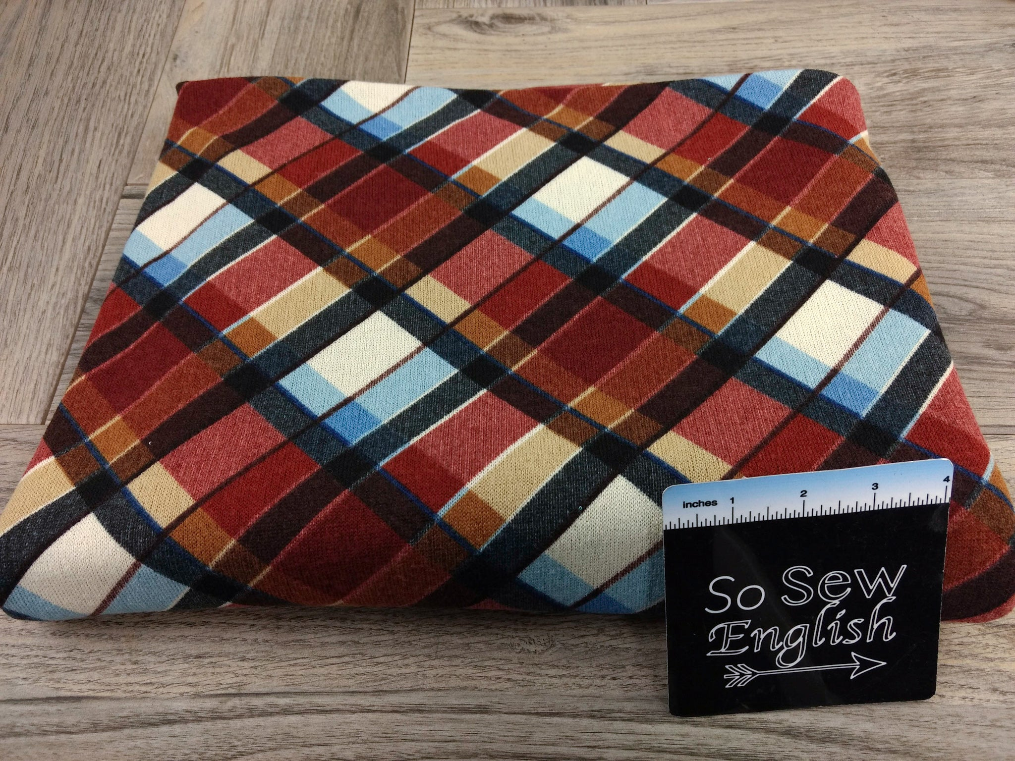 Brick/Blue Diagonal Plaid - Hacci - By The Yard