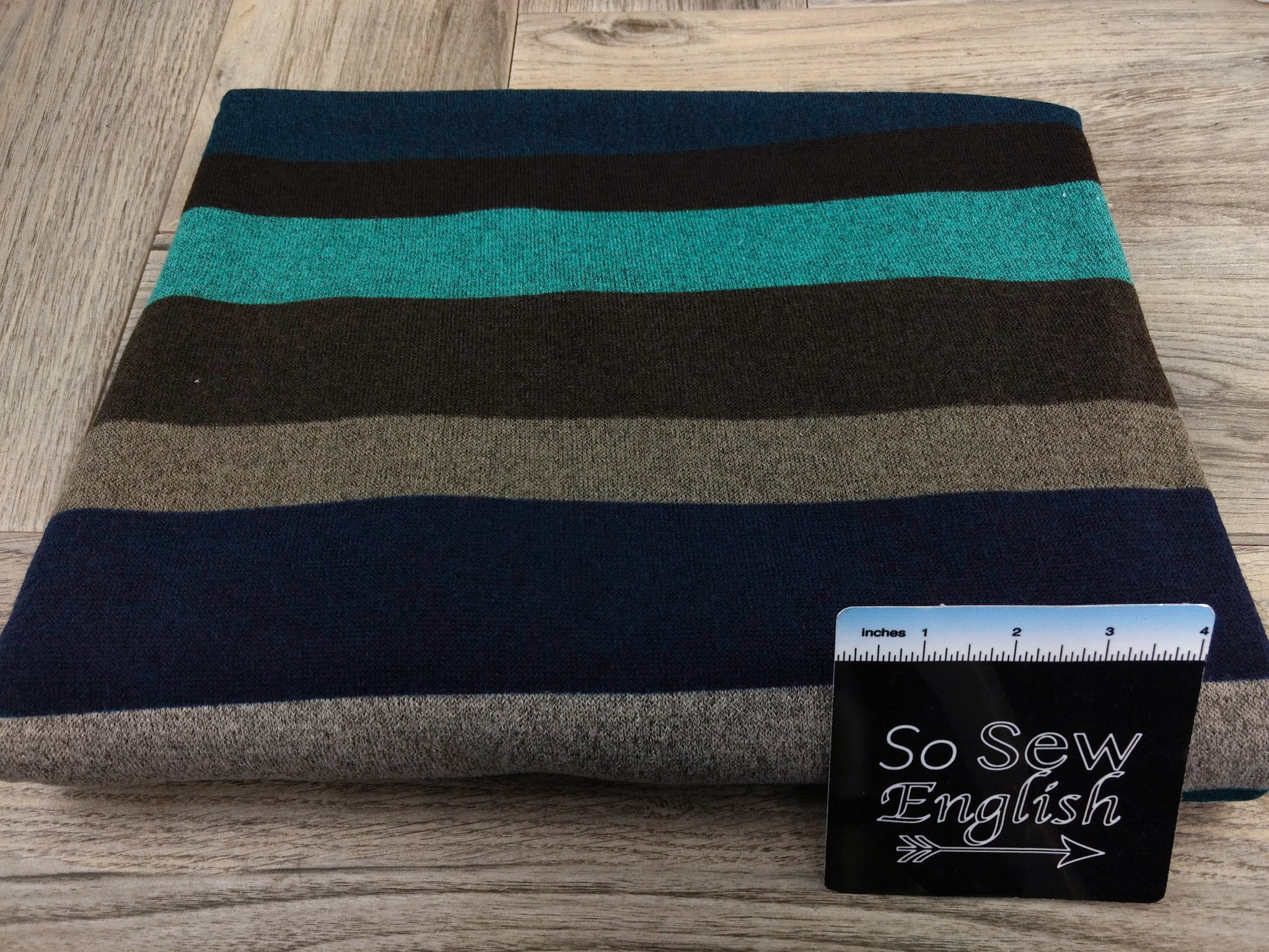 Teal wide STRIPES- Hacci Sweater Knit - By The Yard