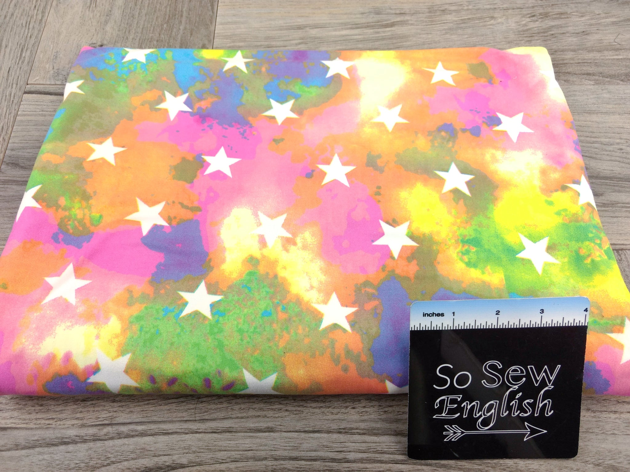 Rainbow TIE DYE STARS - Double Brushed Poly Spandex -By The Yard