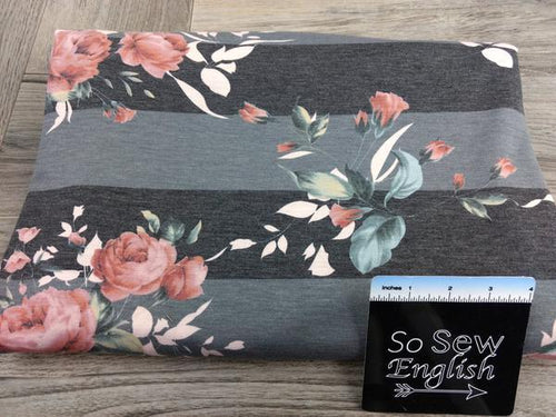 Charcoal Stripe BLUSH LILLY -French Terry- By the yard