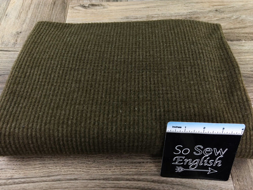 Solid Olive-Brushed Waffle Knit - By the yard