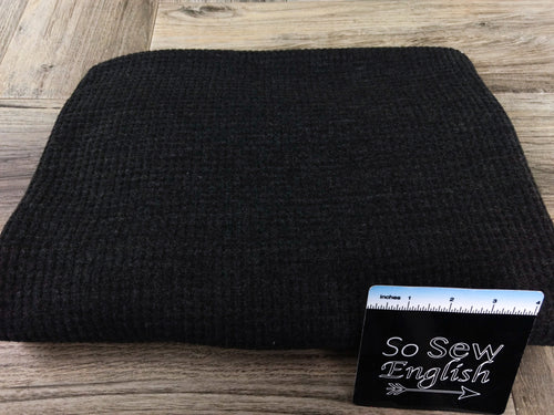 Solid Black-Brushed Waffle Knit - By the yard