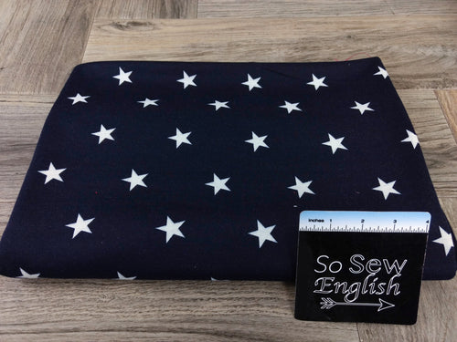 Navy/Ivory STARS -French Terry- By the yard