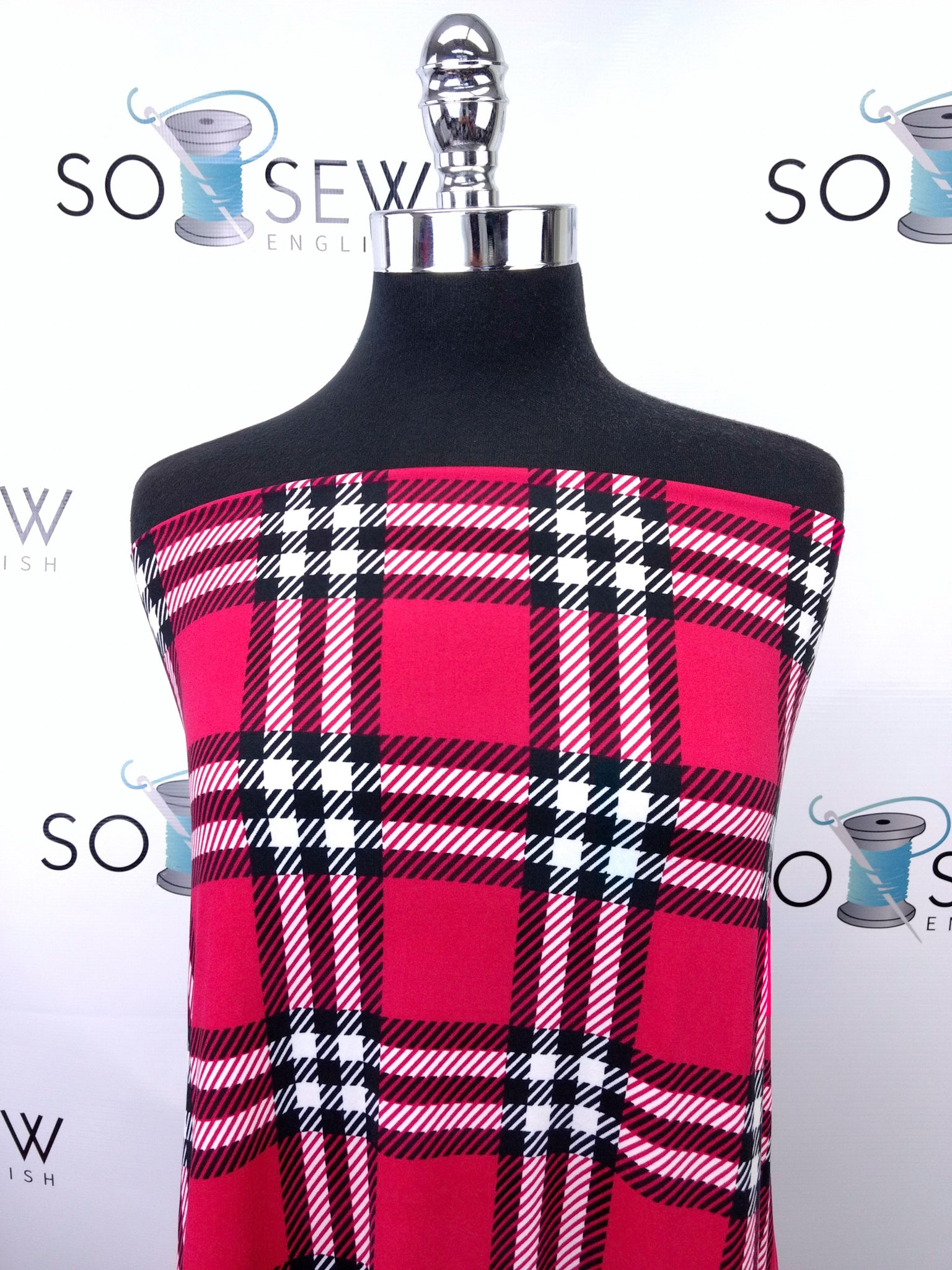 Red/Black DEVON PLAID - Double Brushed Poly Spandex -By The Yard