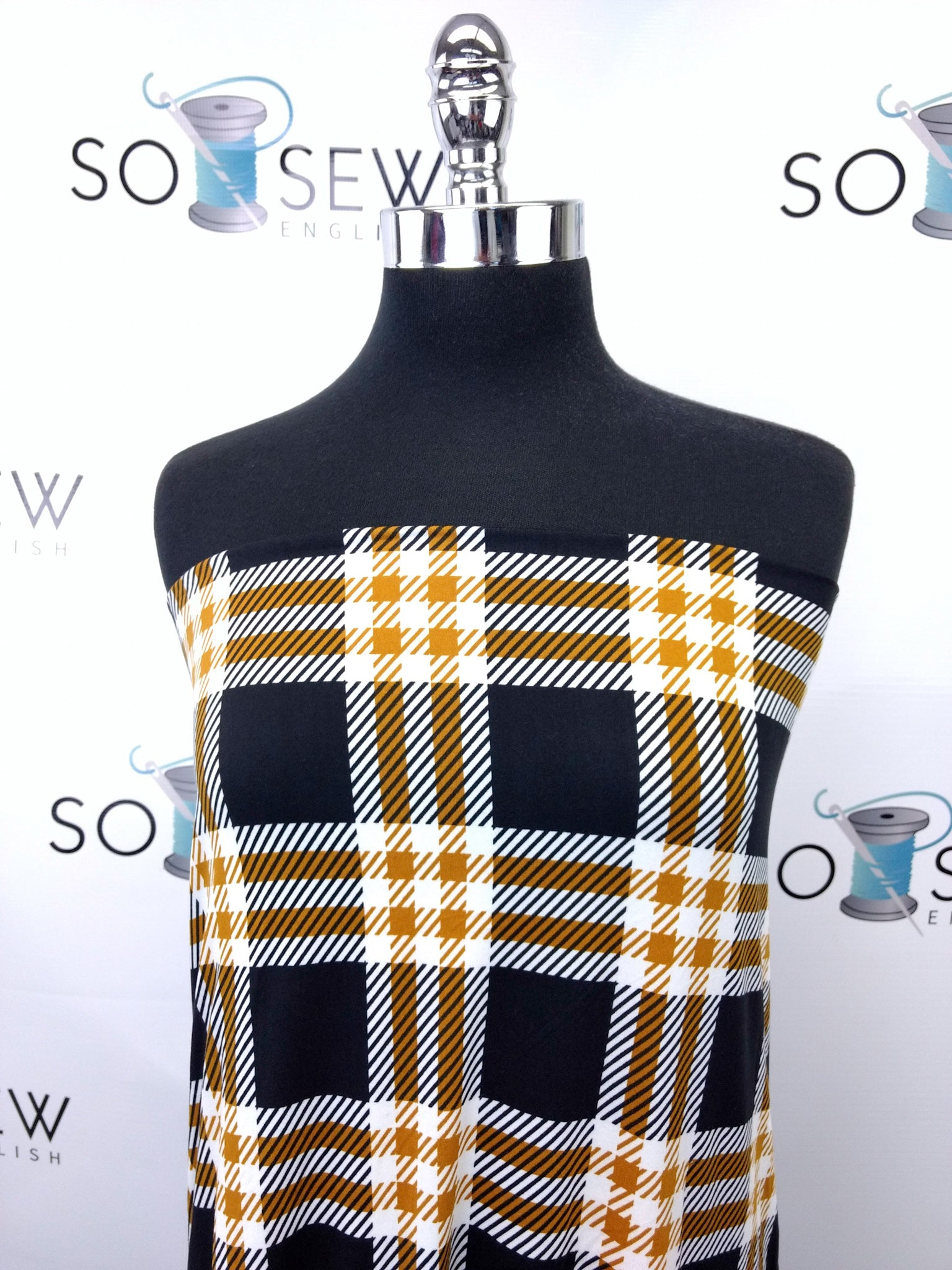 Black/Gold DEVON PLAID - Double Brushed Poly Spandex -By The Yard