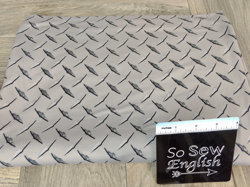 Silver Steel Plate- Double Brushed Poly Spandex -By The Yard