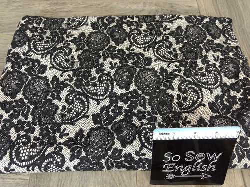 Ivory/Black LACE PRINT - Double Brushed Poly Spandex -By The Yard