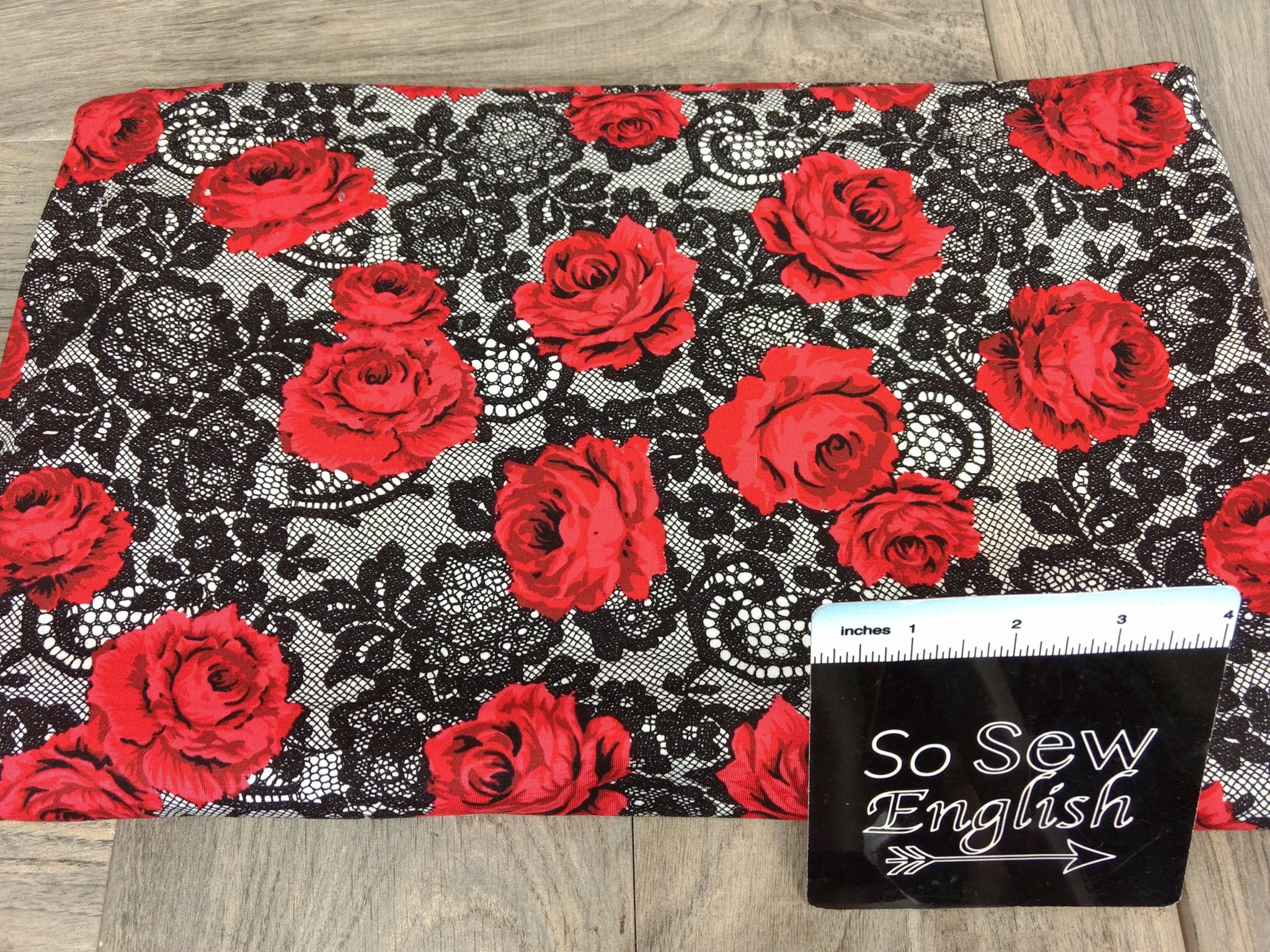 "Black/Red DENISE Floral ""Lace"" - Modal Spandex - By the yard"