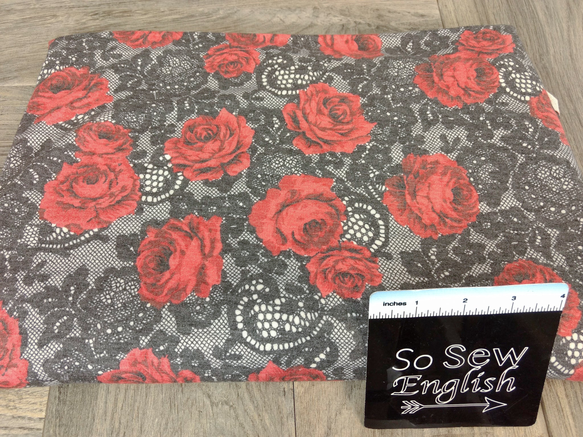 Black/Red DENISE Floral Lace -French Terry- By the yard