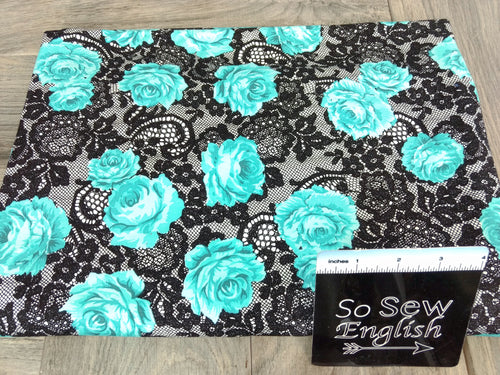 "Black/Jade DENISE Floral ""Lace""- Modal Spandex - By the yard"