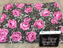 "Black/Fuchsia DENISE Floral ""Lace"" - Modal Spandex - By the yard"