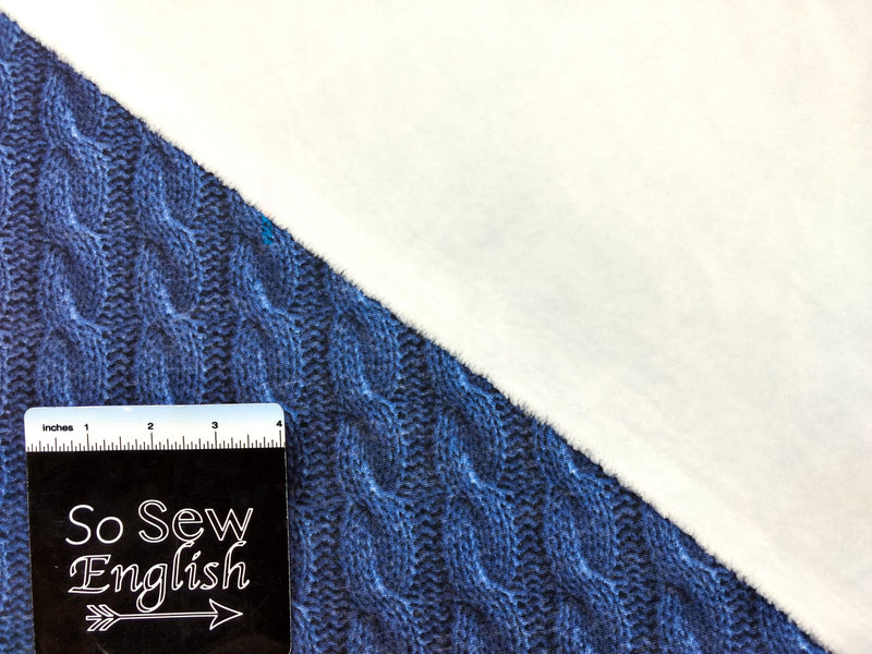 "Denim ""CABLE KNIT"" Print - SUPER PLUSH - By the yard"