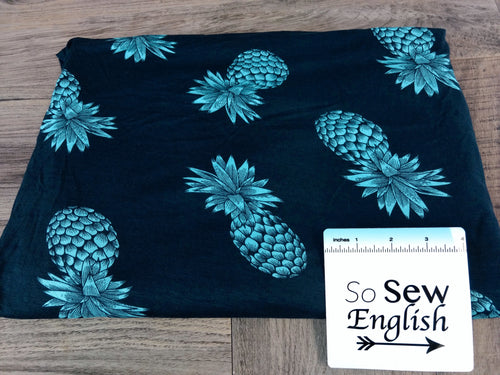 Navy/Aqua PINEAPPLE - Modal Spandex - By the yard