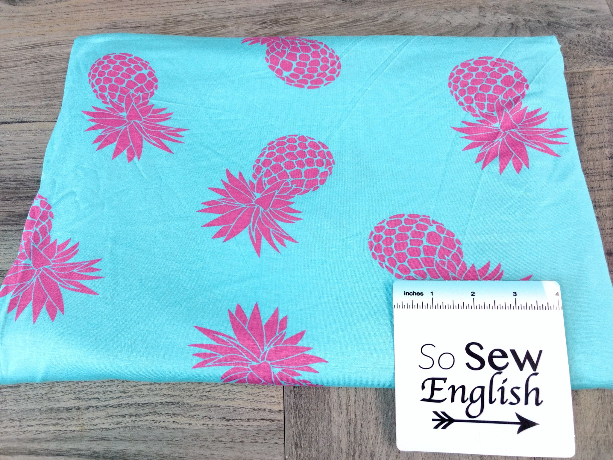Aqua/Pink PINEAPPLE - Modal Spandex - By the yard
