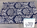 Navy DAMASK -Quilted Knit - By the yard