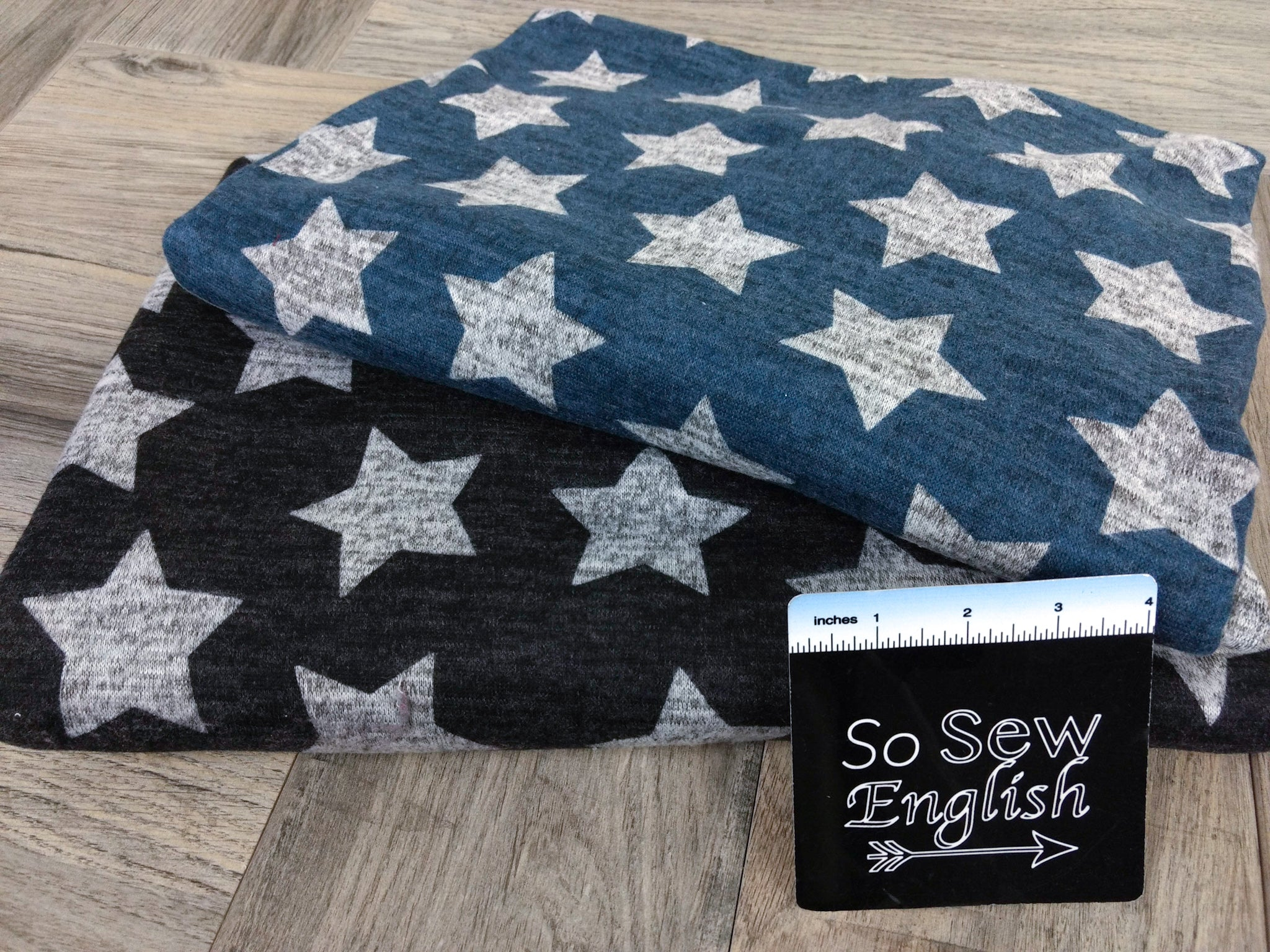 Black/Grey STARS - Brushed Hacci - By The Yard