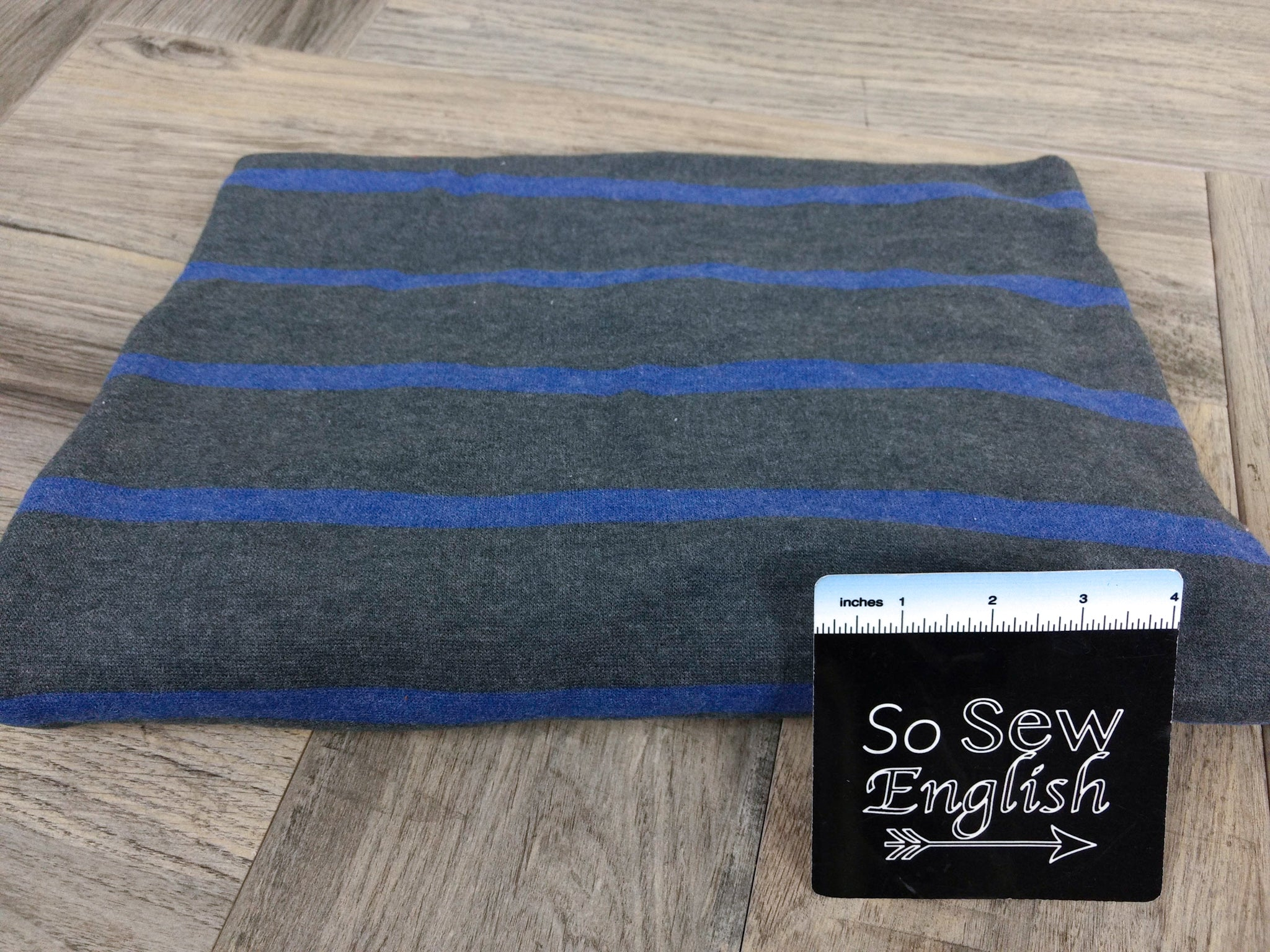 Charcoal/Blue Stripe - Brushed Sweater - By The Yard