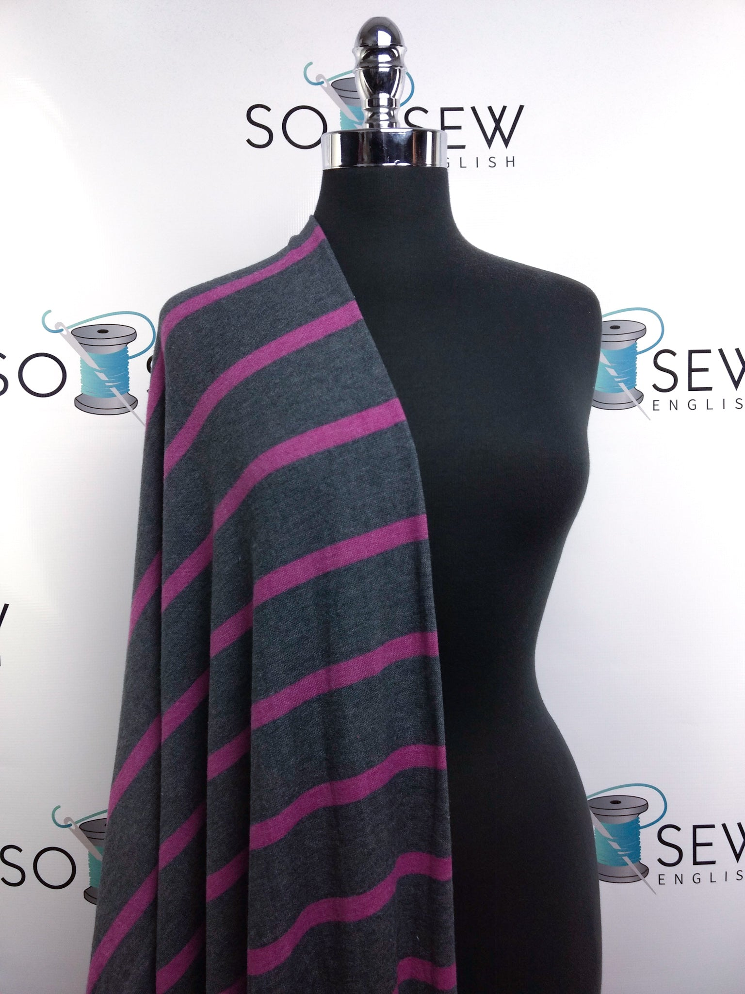 Charcoal/Magenta Stripe - Brushed Sweater - By The Yard