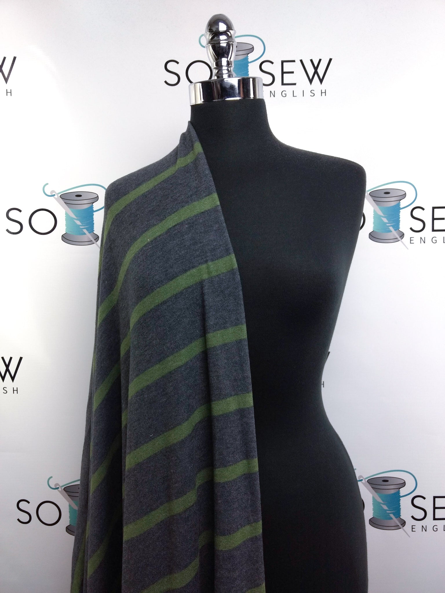 Charcoal/Green Stripe - Brushed Sweater - By The Yard