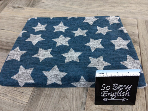 Denim/Grey STARS - Brushed Hacci - By The Yard