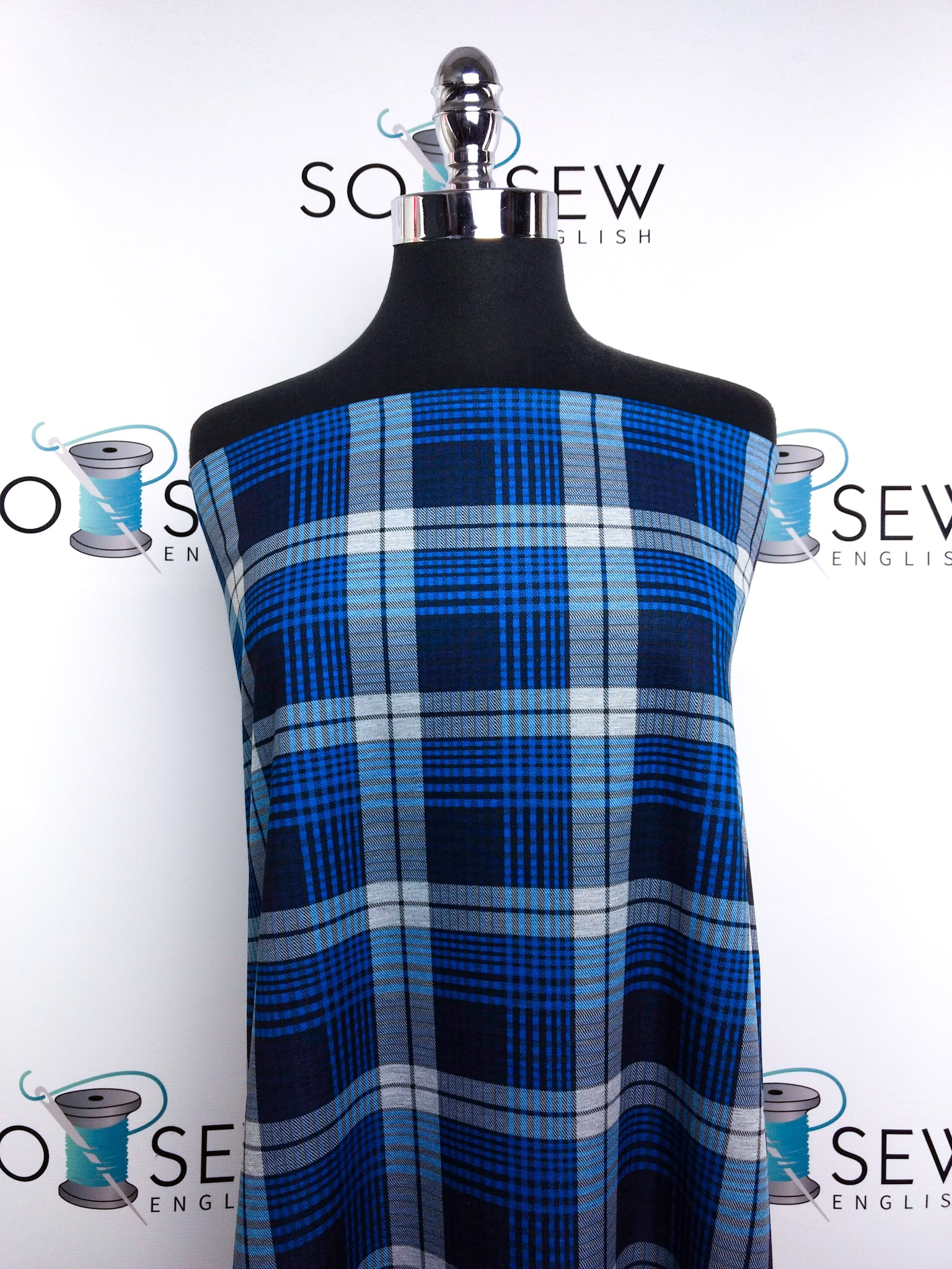 Blue/Navy PLAID -PONTE Knit - By The Yard