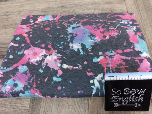 Navy/Fuchsia SPLATTER -French Terry- By the yard