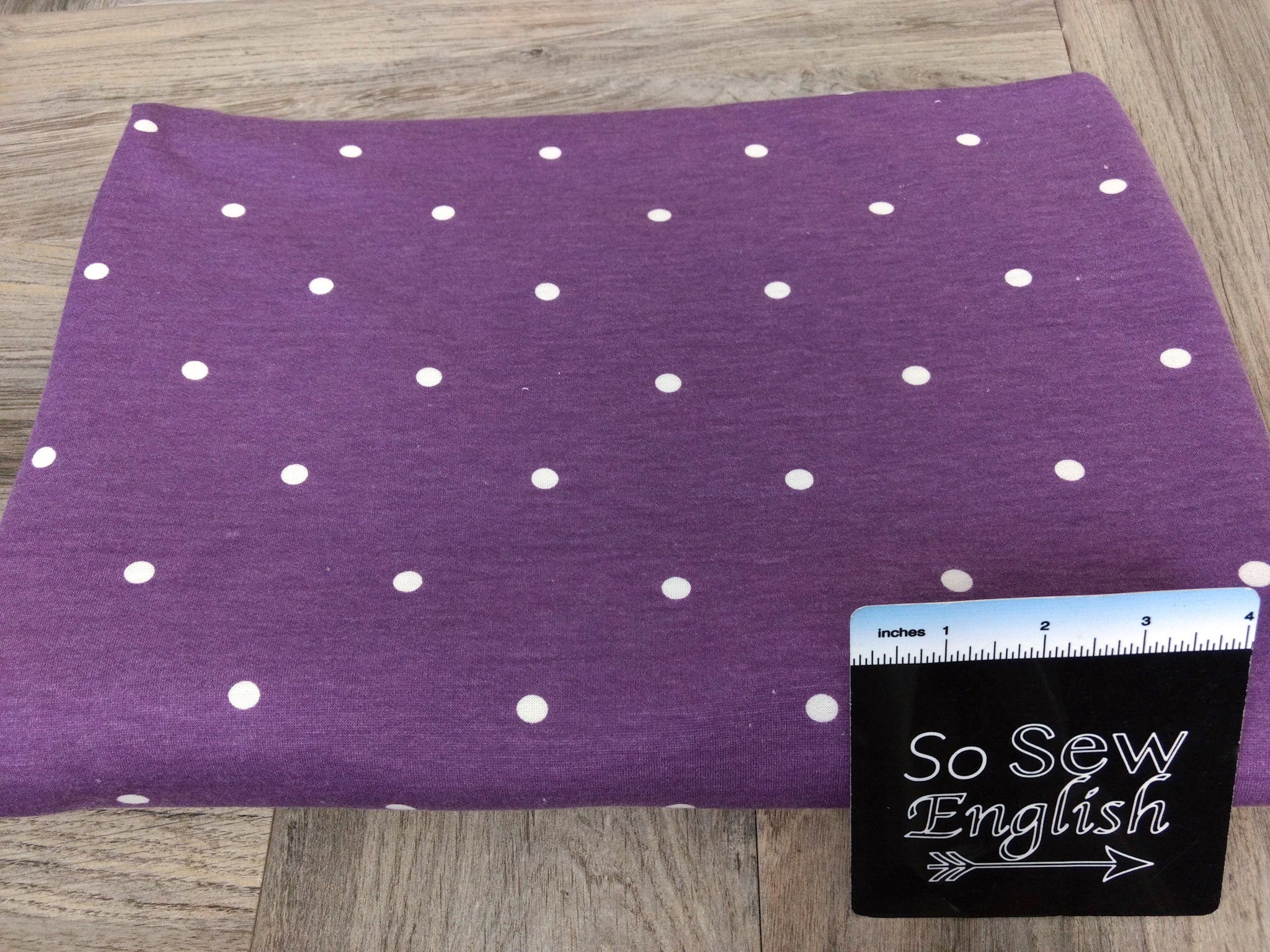 Purple POLKA DOTS - Poly Rayon French Terry - By the yard