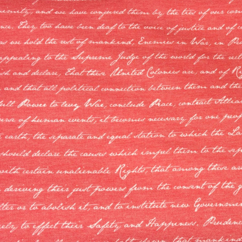 Red DECLARATION OF INDEPENDENCE -French Terry- By the yard (Patriotic)