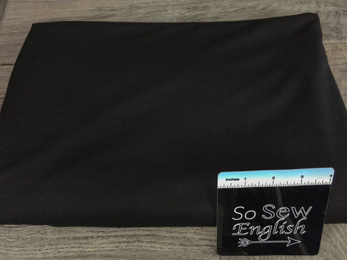SOLID BLACK  -Poly Rayon Spandex  French Terry - By the yard