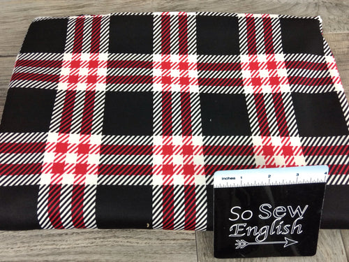 Black/Red DEVON PLAID -PONTE  - By The Yard