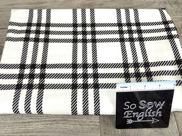 Ivory/Black DEVON PLAID -PONTE - By The Yard