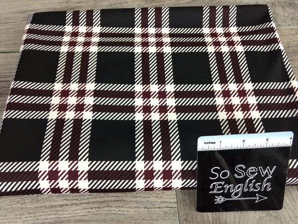 Black/Burgundy DEVON PLAID -PONTE De Roma - By The Yard