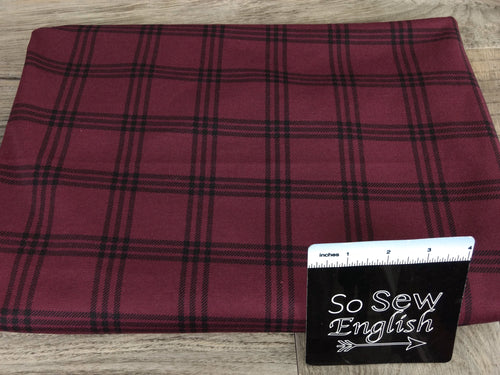Burgundy BRODY PLAID -PONTE De Roma - By The Yard