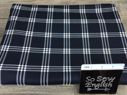 Navy BRODY PLAID -PONTE De Roma - By The Yard