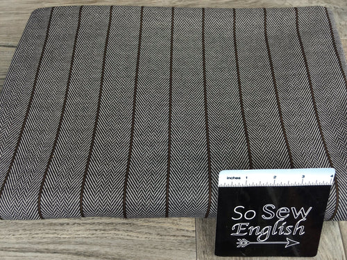 Brown Thin Vertical Stripe Herringbone- Jacquard DOUBLE Knit - By the yard