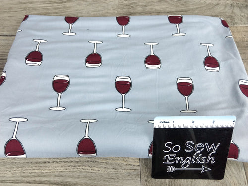 Silver WINE GLASSES - Double Brushed Poly Spandex -By The Yard