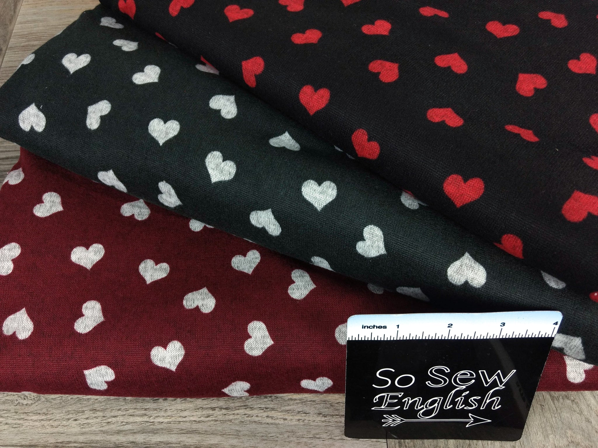 Black/Red HEARTS -Hacci - By The Yard