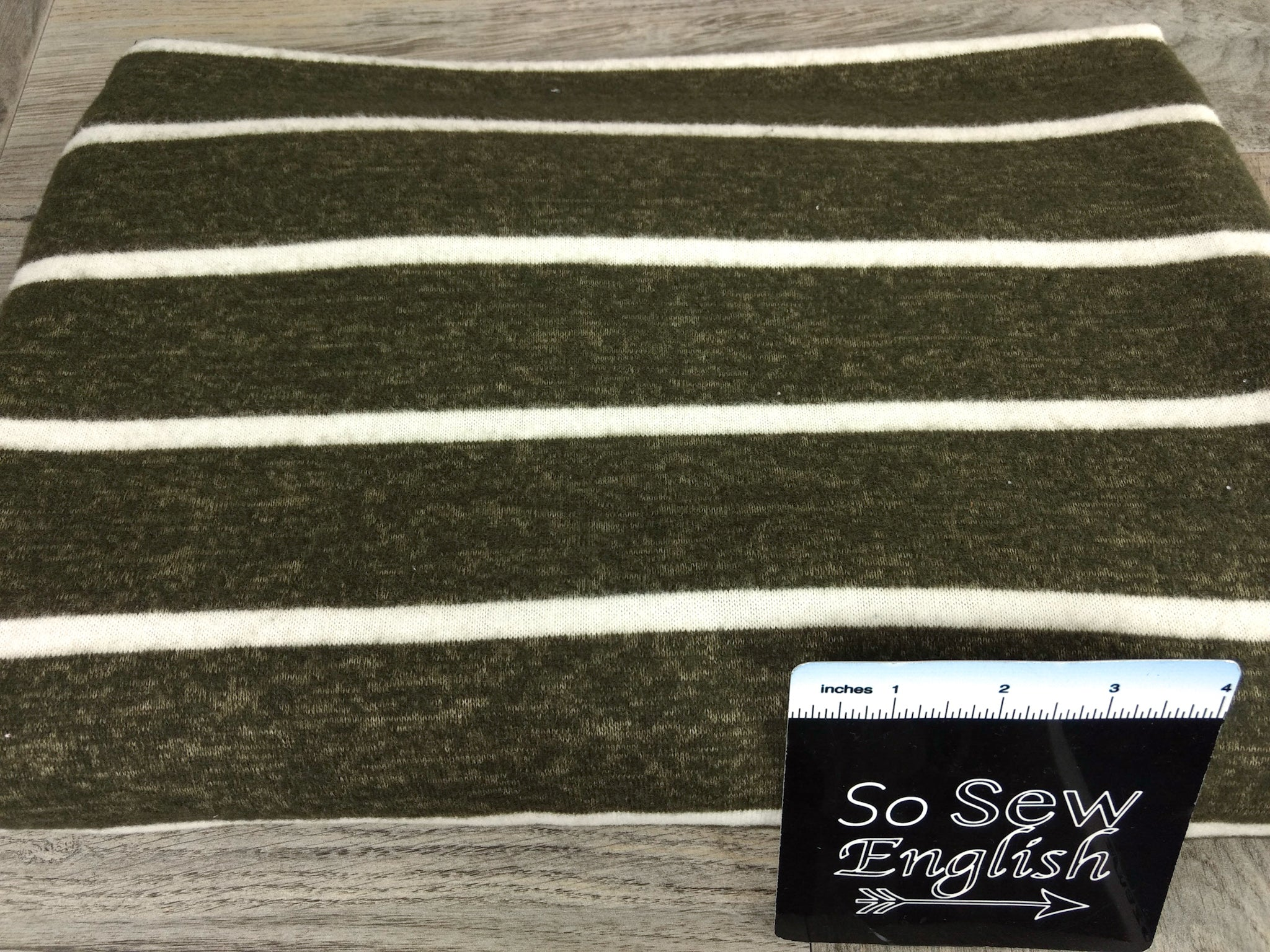 "Olive 3"" Stripe - Brushed Hacci - By The Yard"