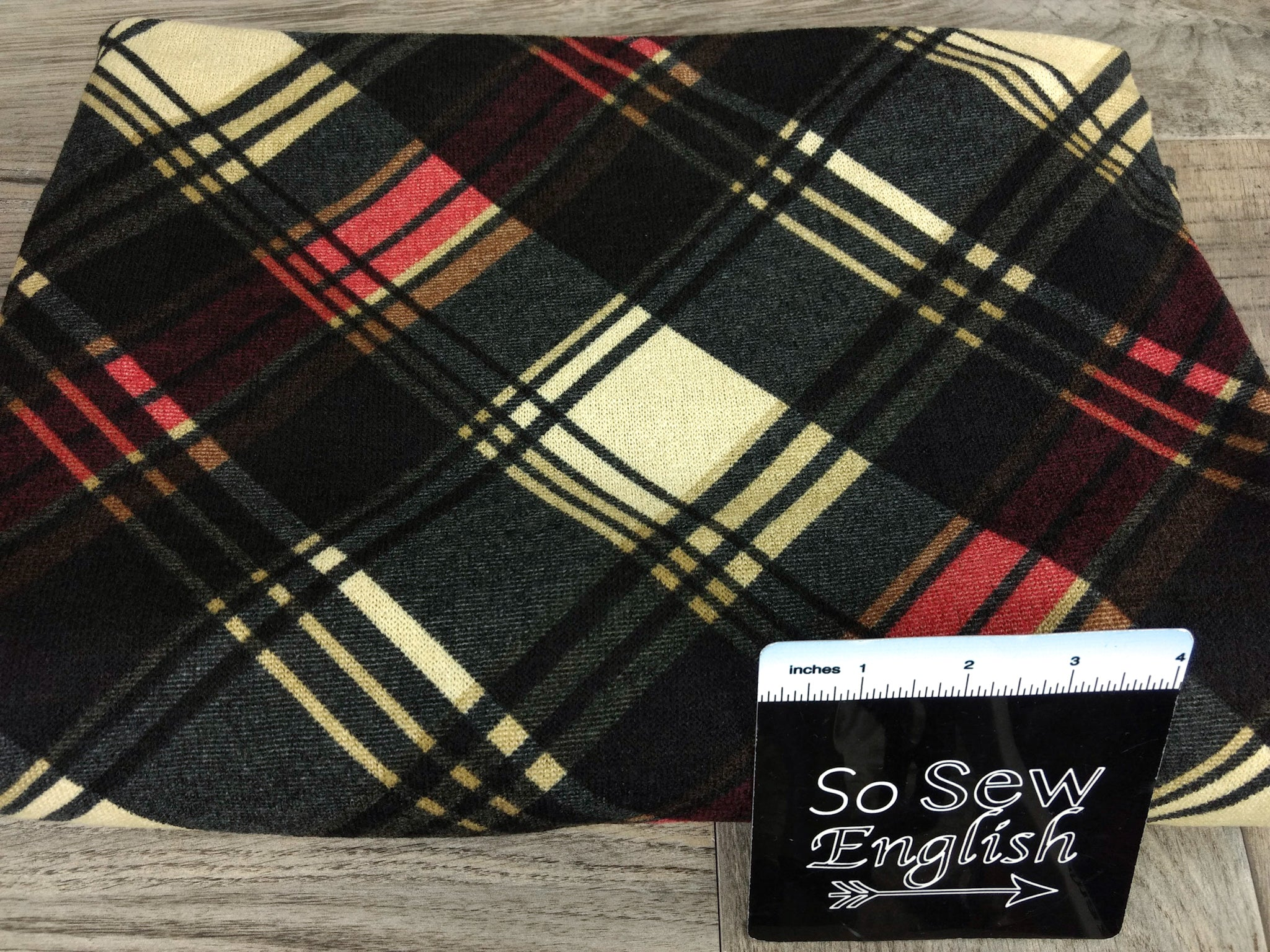 Black/Red/Taupe JERICO Diagonal Plaid - Hacci - By The Yard