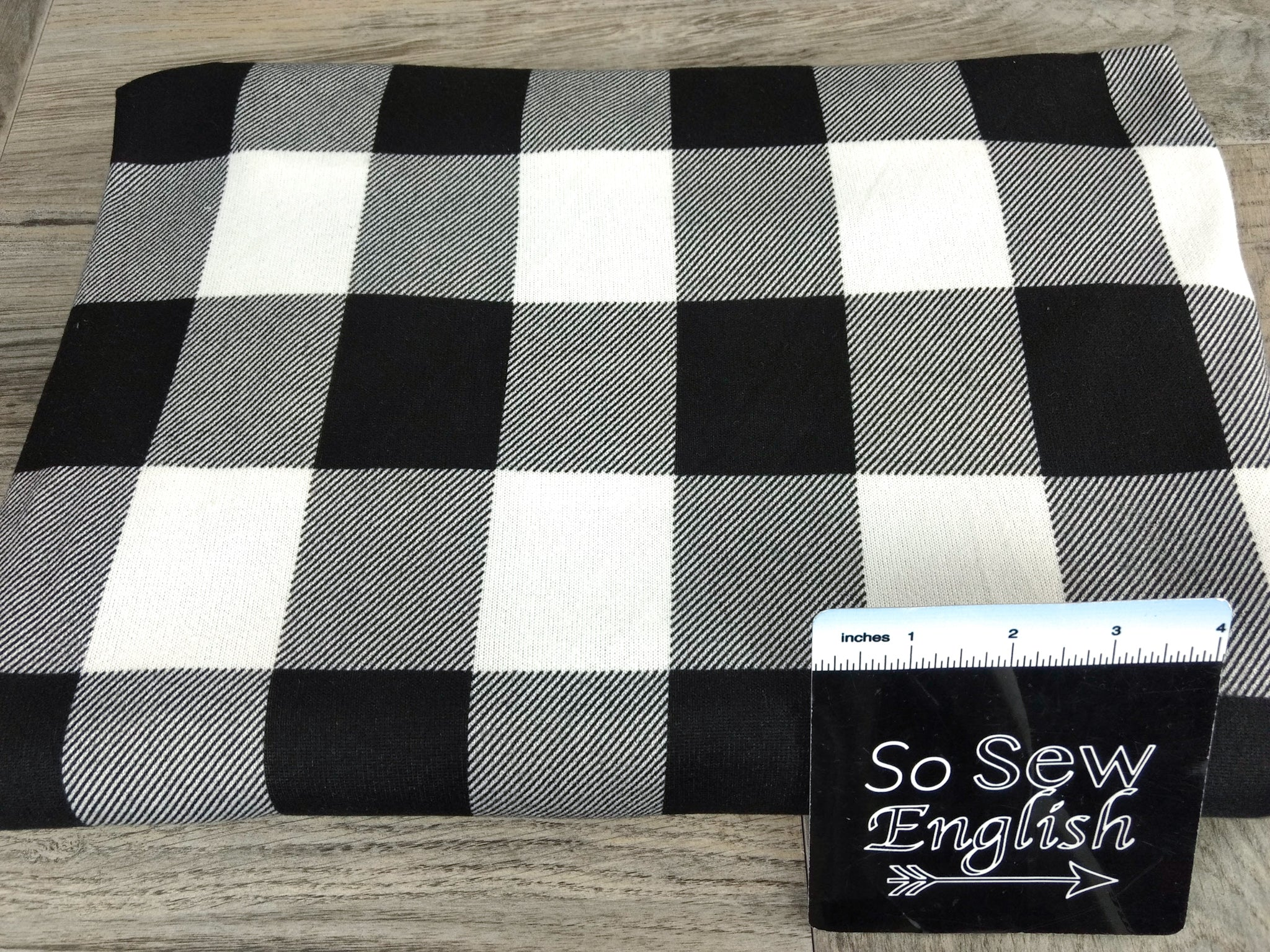 Black/White Buffalo Plaid -Super Brushed Hacci - By The Yard