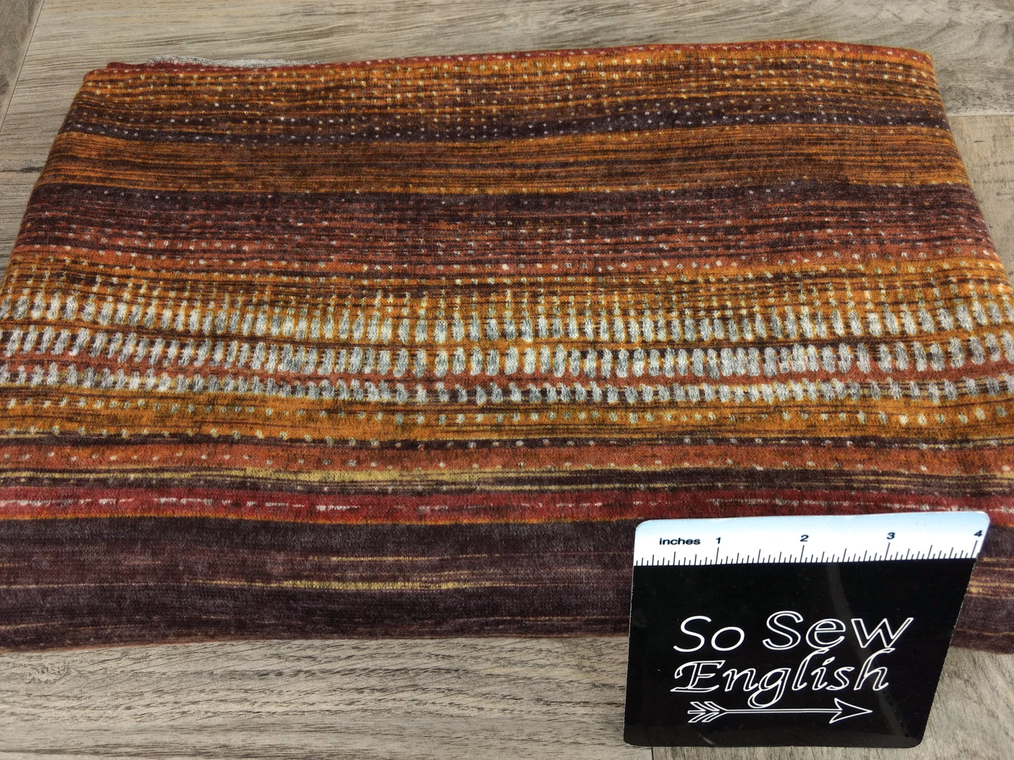 Rust Abstract Stripe -Brushed Hacci - By The Yard