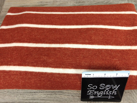 "White/Heather Grey 3"" Stripe - Brushed Hacci - By The Yard"