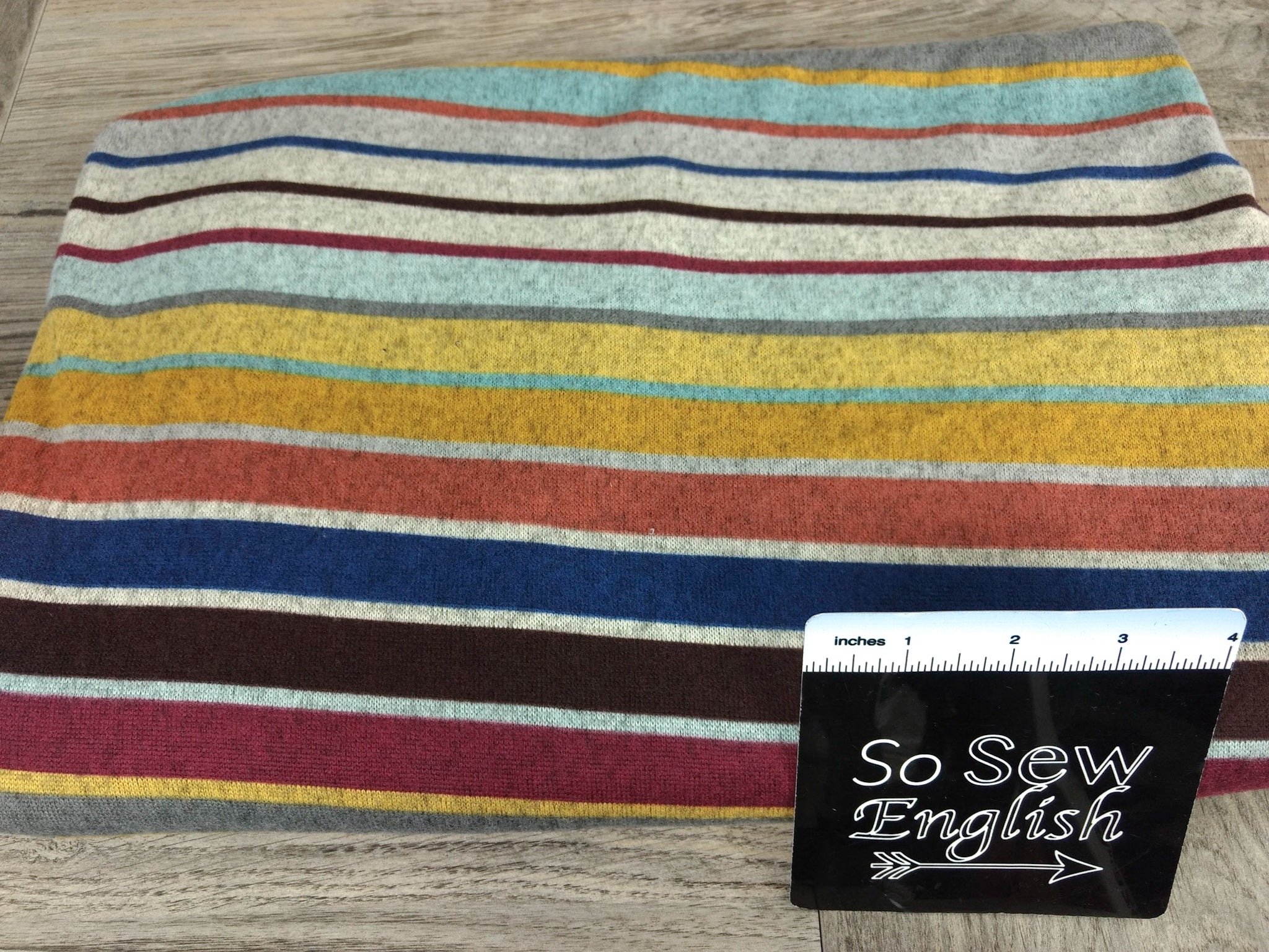 Navy/Burgundy GRADIENT STRIPE - Brushed Hacci - By The Yard