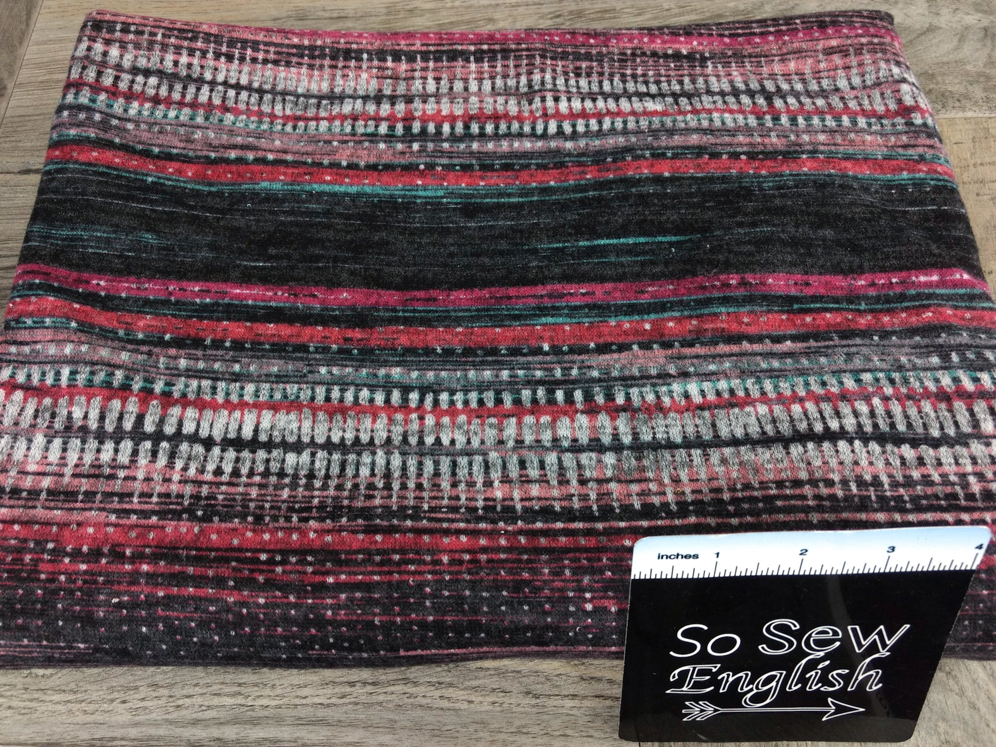 Fuchsia Abstract Stripe -Brushed Hacci - By The Yard