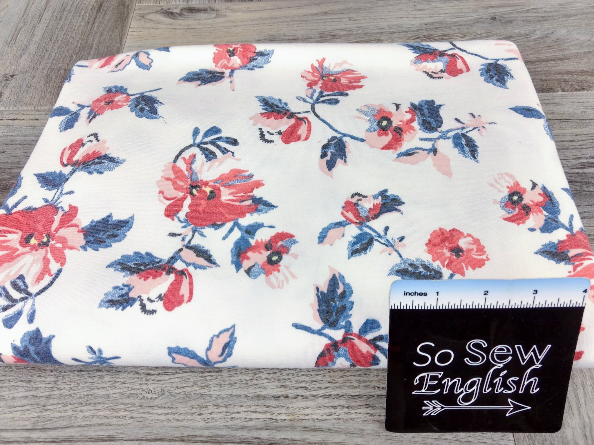 FT ivory/soft red JUNE- Rayon Poly Spandex French Terry - By the yard
