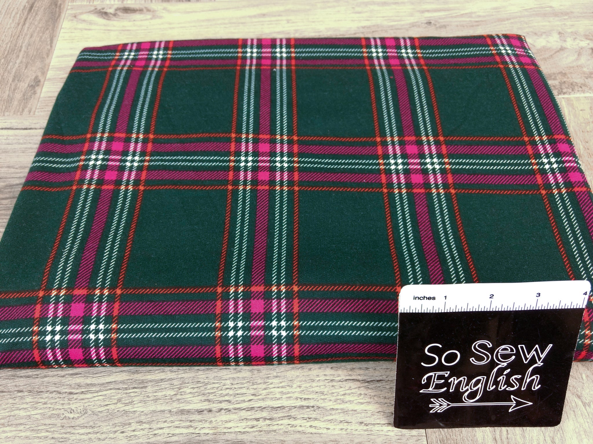 Hunter/Pink ABBY PLAID -French Terry- By the yard