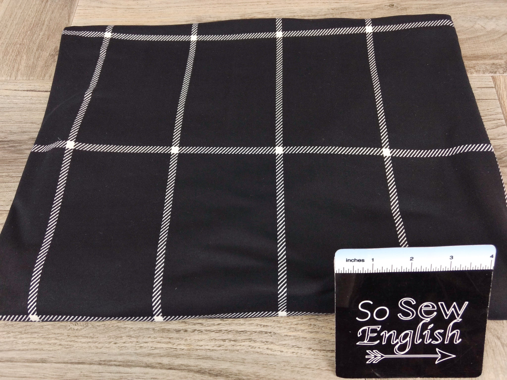 Black LARGE WINDOWPANE - Double Brushed Poly Spandex -By The Yard