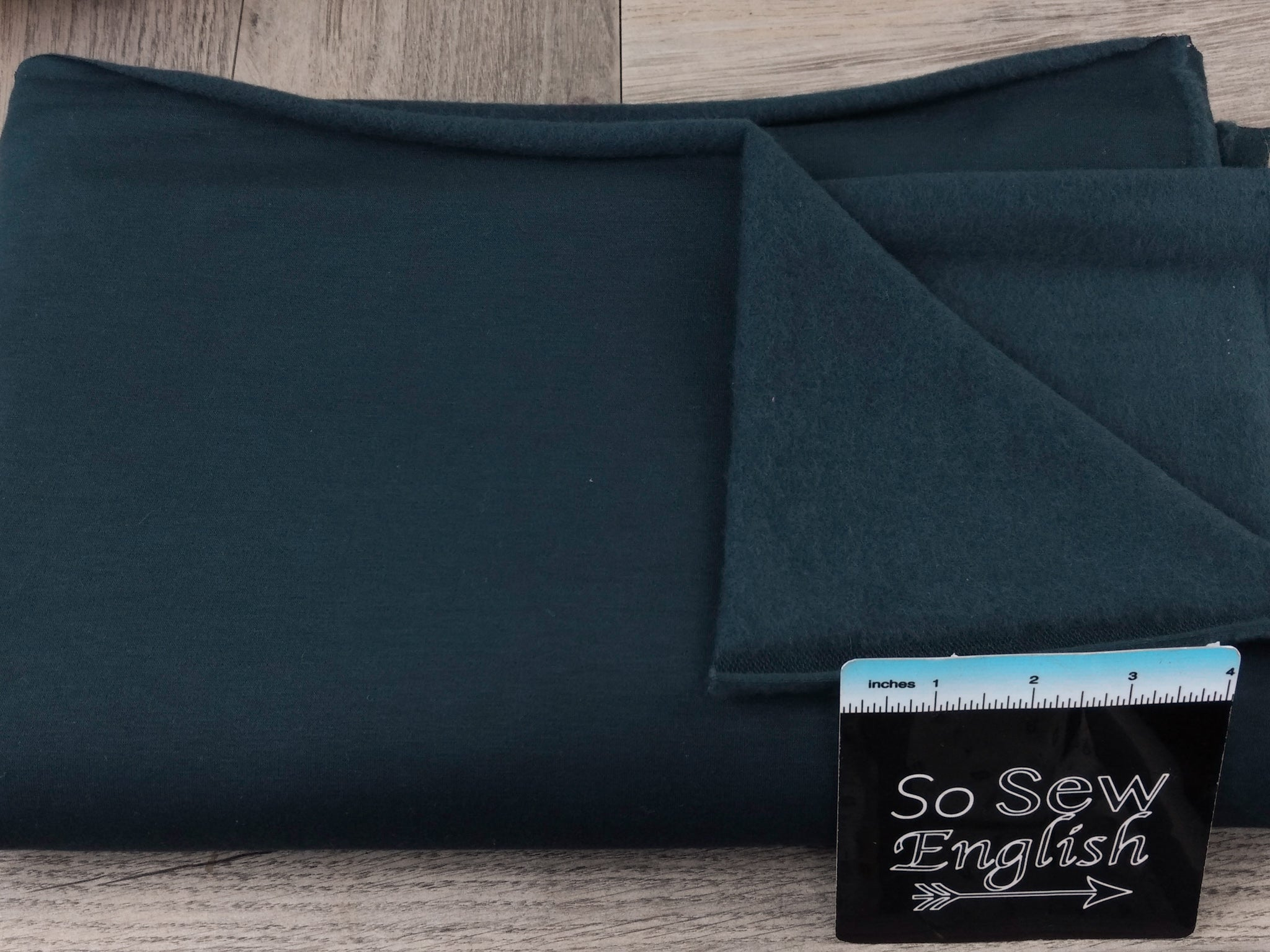Solid Dark Teal -Brushed French Terry- By the yard