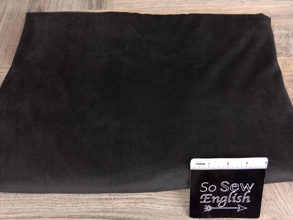 Solid BLACK - Stretch Corduroy - By The Yard