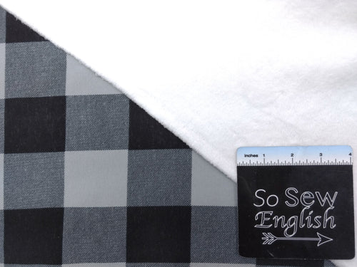 GREY PLAID - SUPER PLUSH - By the yard